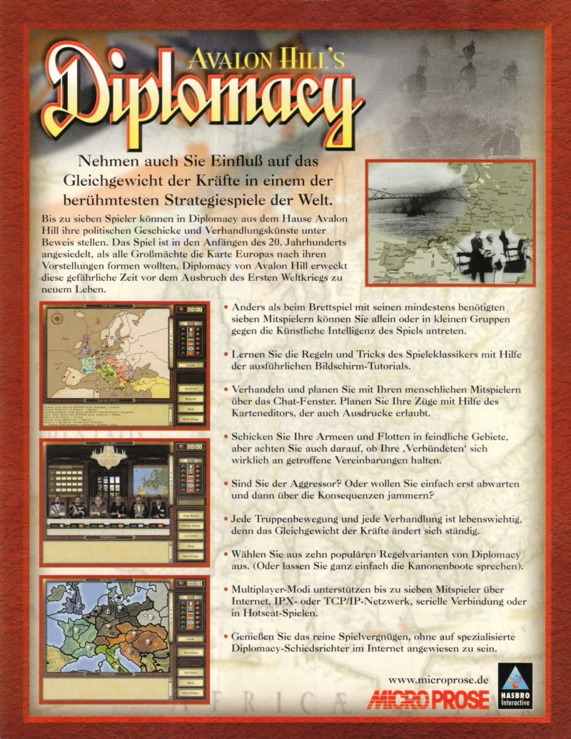 Avalon Hill's Diplomacy Windows Back Cover
