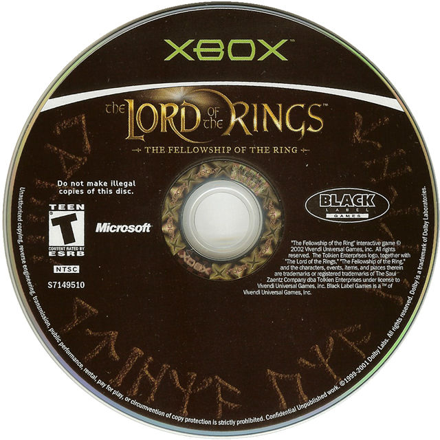 The Lord of the Rings: The Fellowship of the Ring Xbox Media