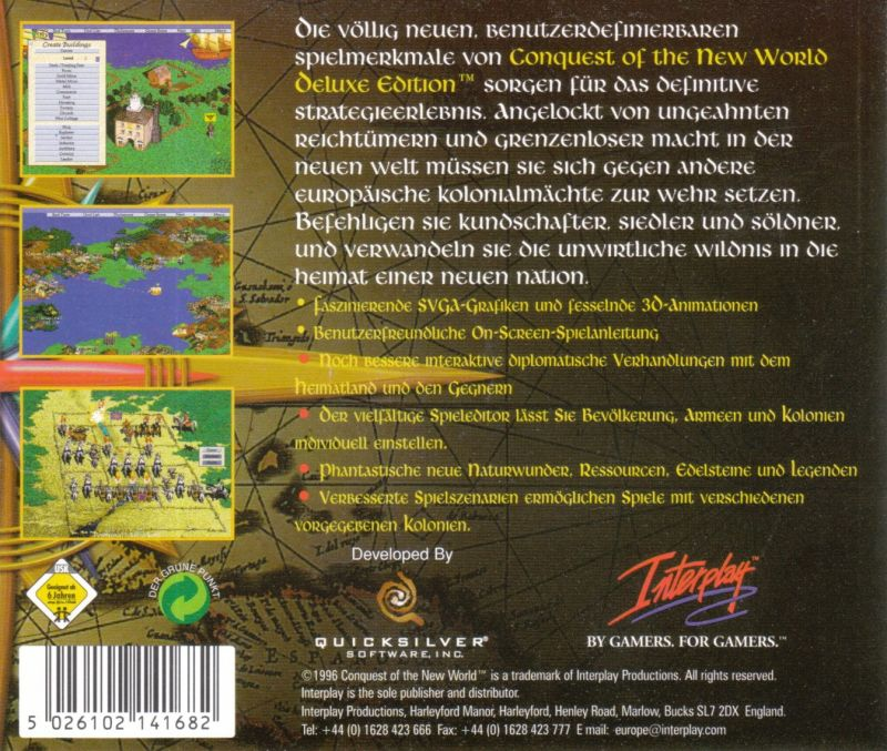 Conquest of the New World (Deluxe Edition) DOS Other Jewel Case - Back