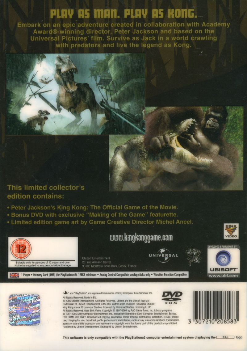 Peter Jackson's King Kong: The Official Game of the Movie (Signature Edition) PlayStation 2 Back Cover Sleeve over case