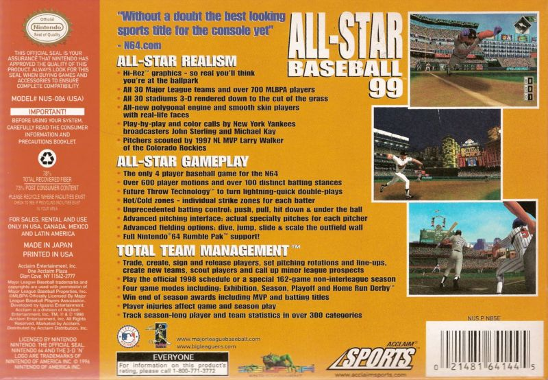 All-Star Baseball 99 Nintendo 64 Back Cover