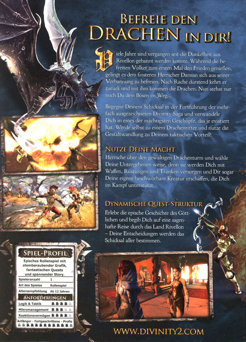 Divinity II: Ego Draconis (Collector's Edition) Windows Back Cover