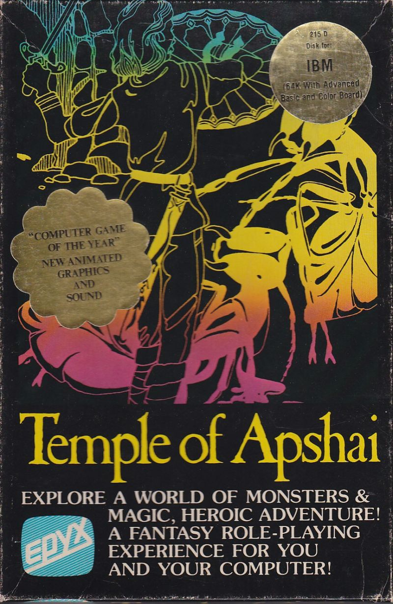 Dunjonquest: Temple of Apshai DOS Front Cover