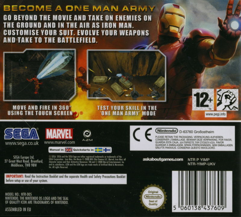 Iron Man Nintendo DS Back Cover
