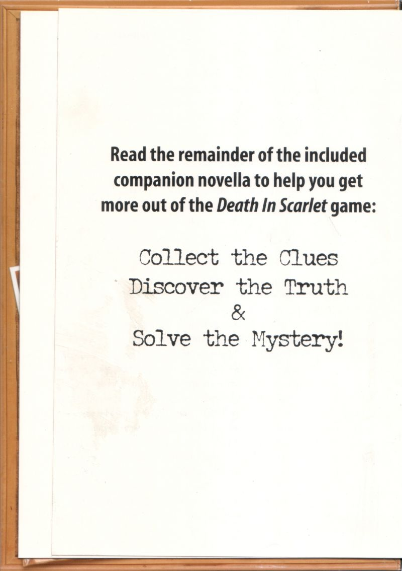 Women's Murder Club: Death in Scarlet Macintosh Inside Cover Left (back of booklet)