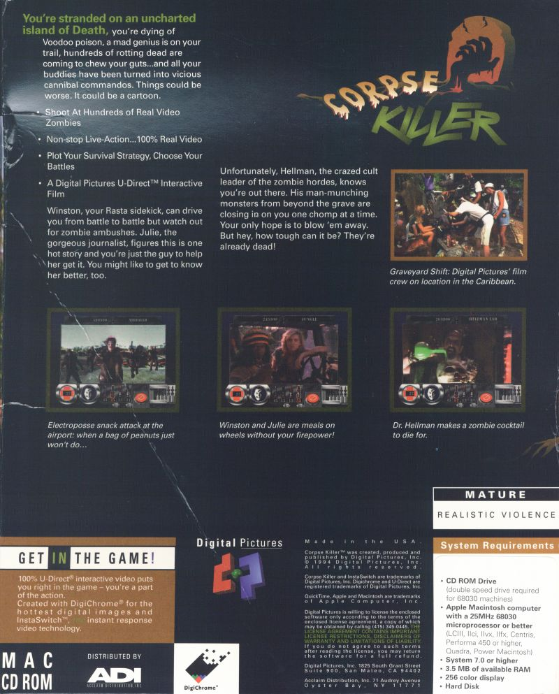 Corpse Killer Macintosh Back Cover