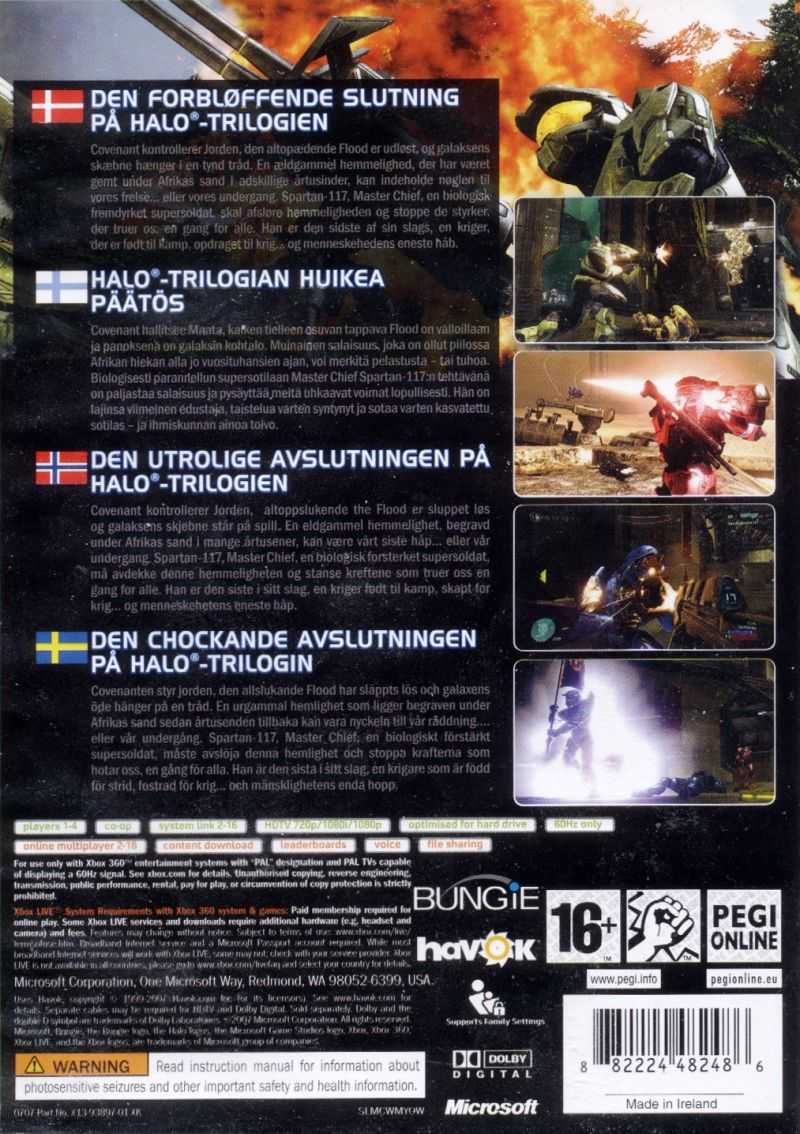 Halo 3 Xbox 360 Back Cover