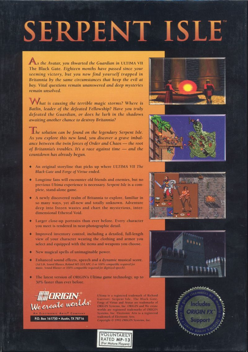 Ultima VII: Part Two - Serpent Isle DOS Back Cover