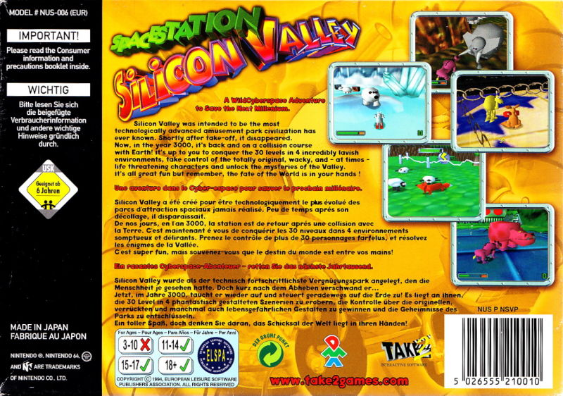 Space Station Silicon Valley Nintendo 64 Back Cover