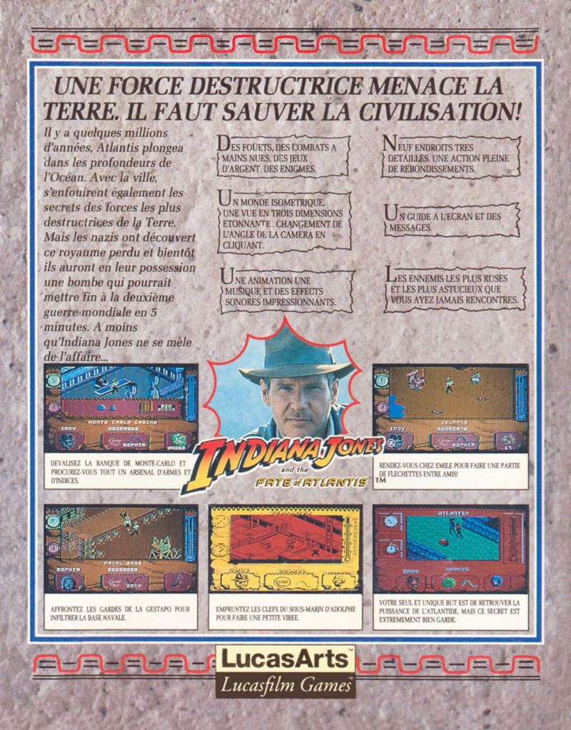 Indiana Jones and The Fate of Atlantis: The Action Game Amstrad CPC Back Cover