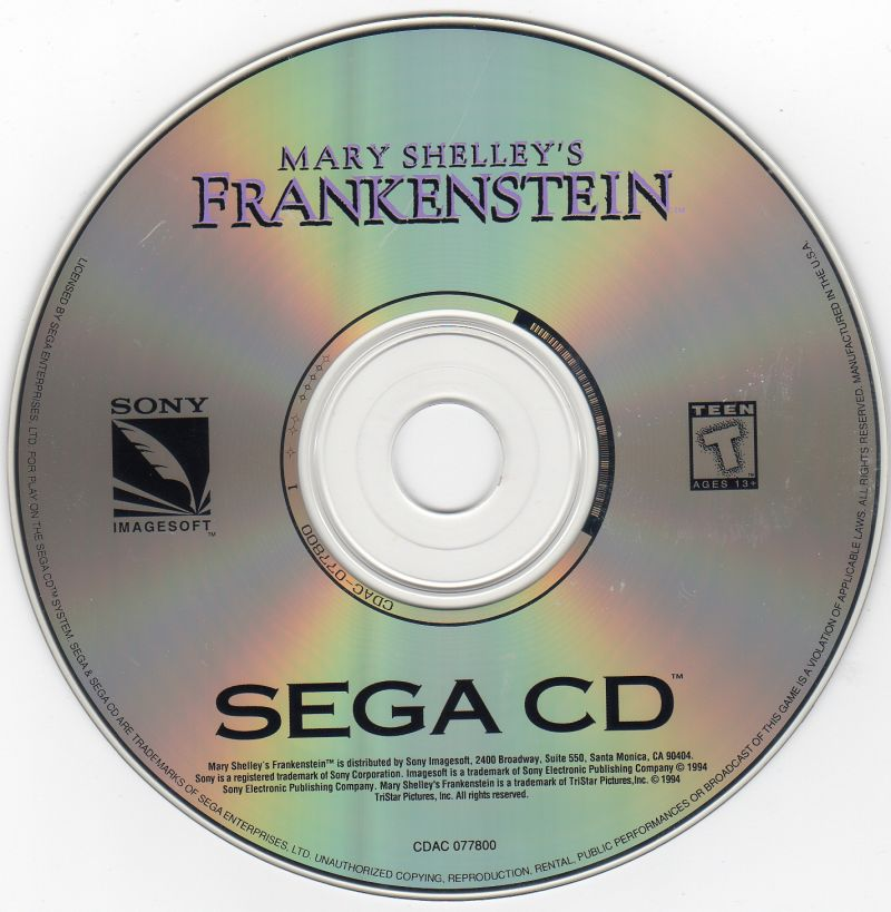 Mary Shelley's Frankenstein / Bram Stoker's Dracula SEGA CD Media Mary Shelley's Frankenstein game disc