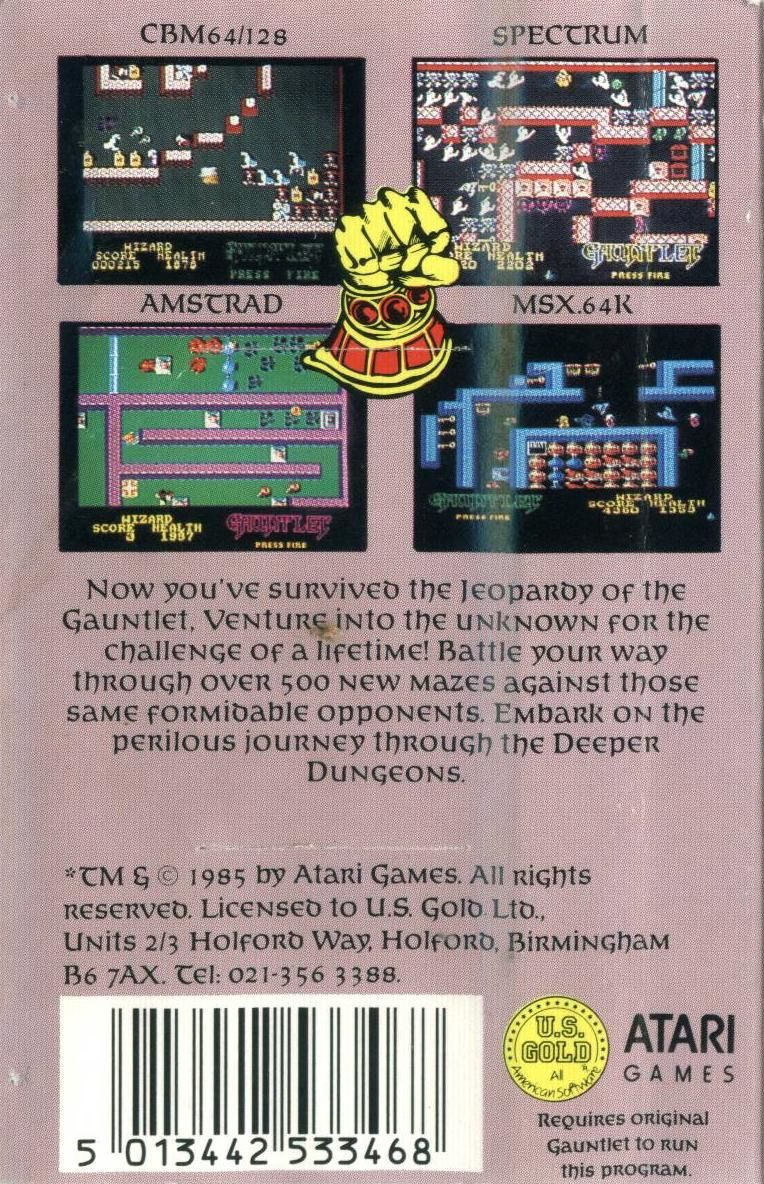 Gauntlet: The Deeper Dungeons MSX Back Cover