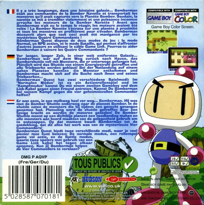 Bomberman Quest Game Boy Color Back Cover