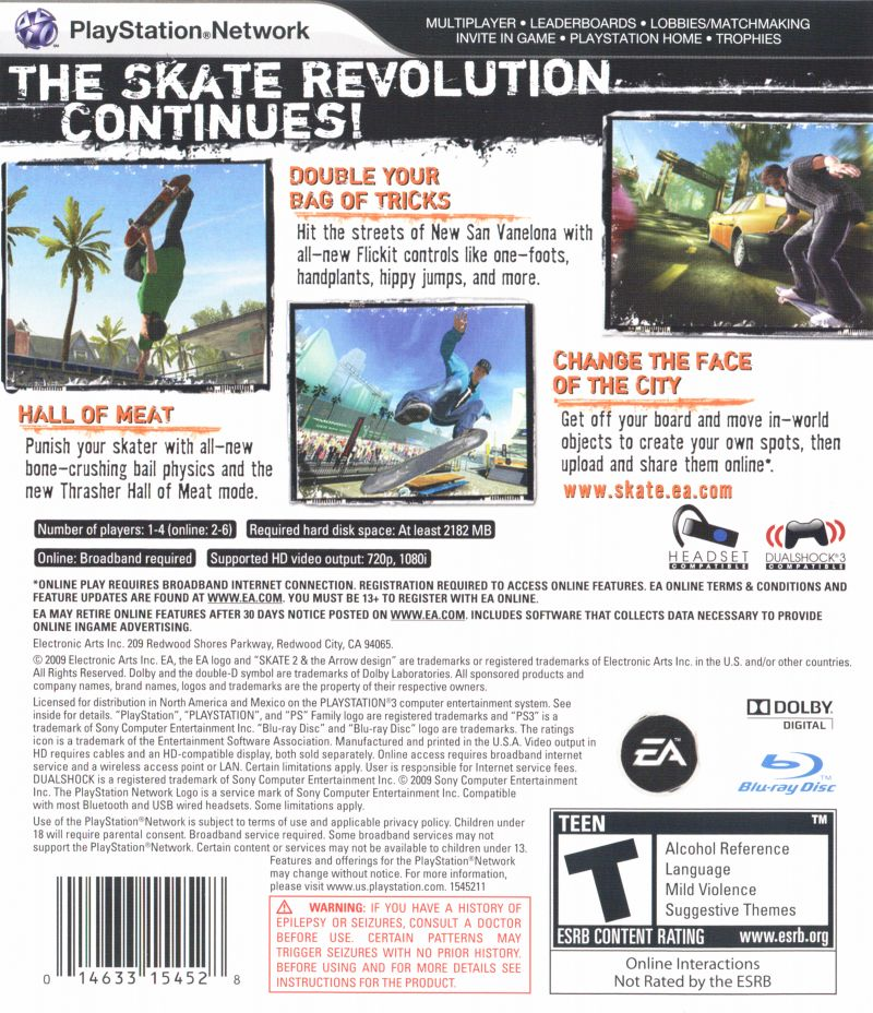 skate 2 PlayStation 3 Back Cover