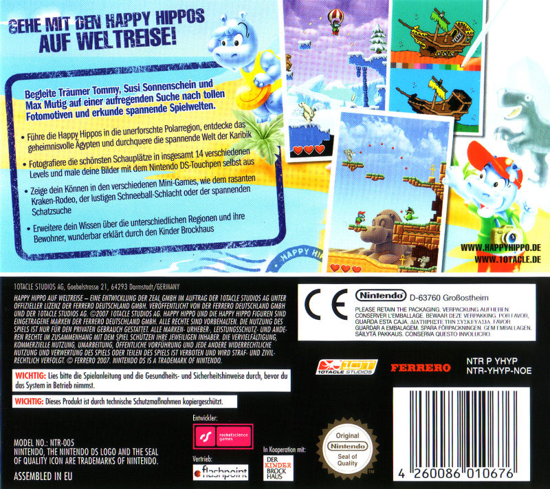 happy hippos auf weltreise 2007 nintendo ds box cover art mobygames. Black Bedroom Furniture Sets. Home Design Ideas