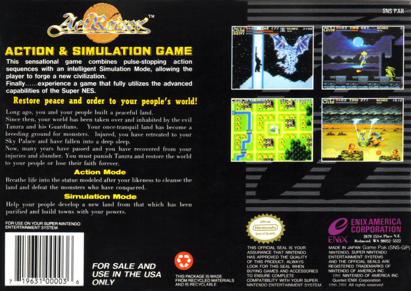 ActRaiser SNES Back Cover