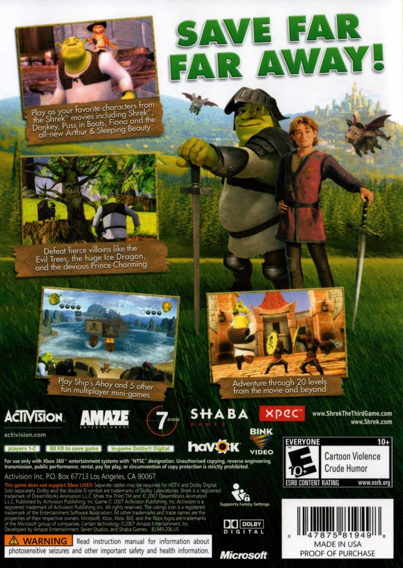 Shrek the Third Xbox 360 Back Cover