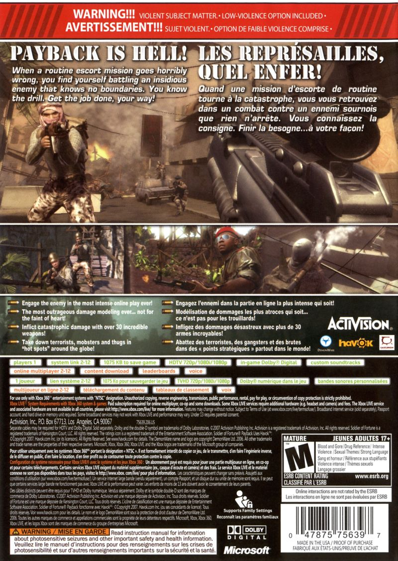 Soldier of Fortune: Payback Xbox 360 Back Cover
