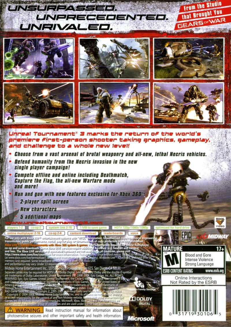 Unreal Tournament III Xbox 360 Back Cover