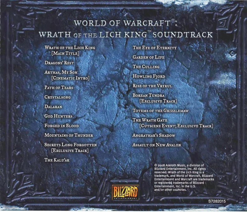 World of Warcraft: Wrath of the Lich King (Collector's Edition) Macintosh Other Jewel Case - Back (Soundtrack)