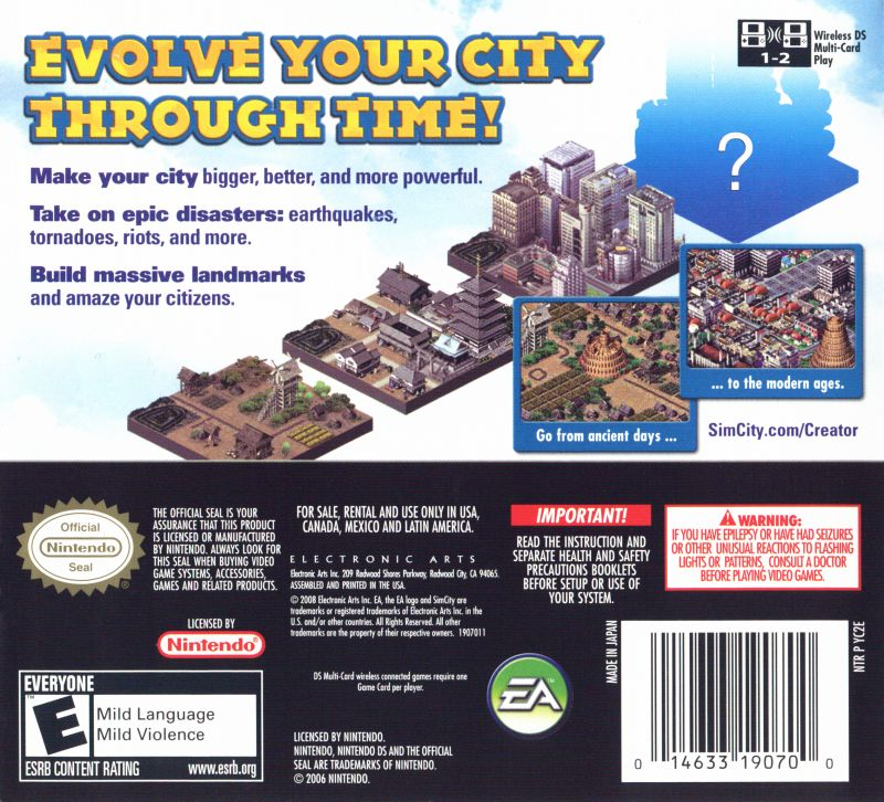 SimCity Creator Nintendo DS Back Cover