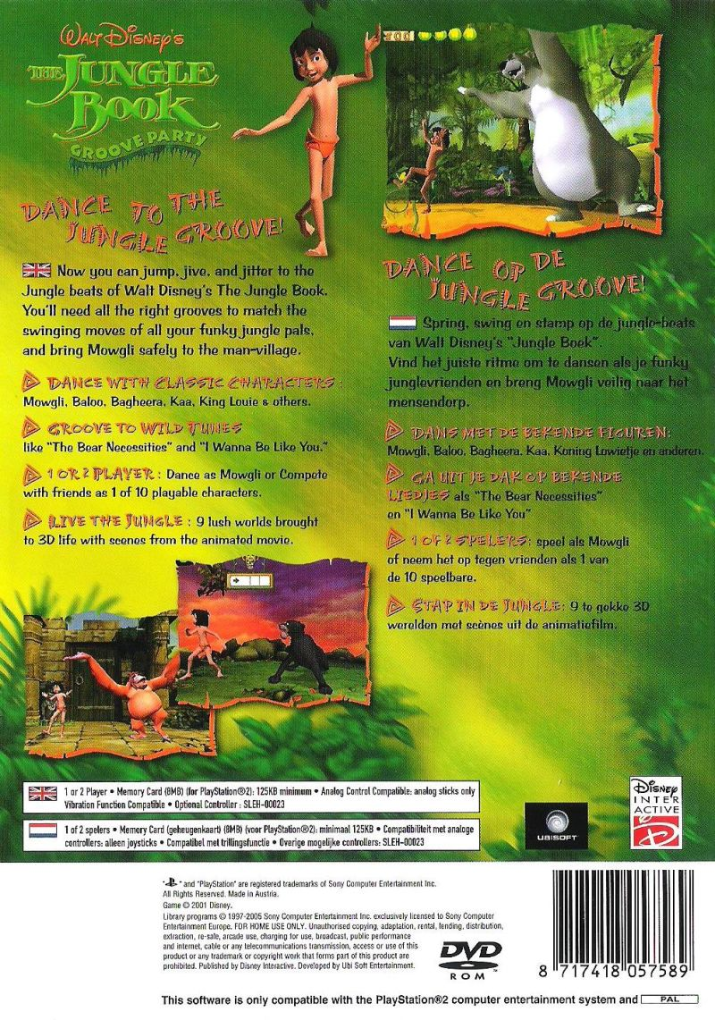 Walt Disney's The Jungle Book: Rhythm n' Groove PlayStation 2 Back Cover