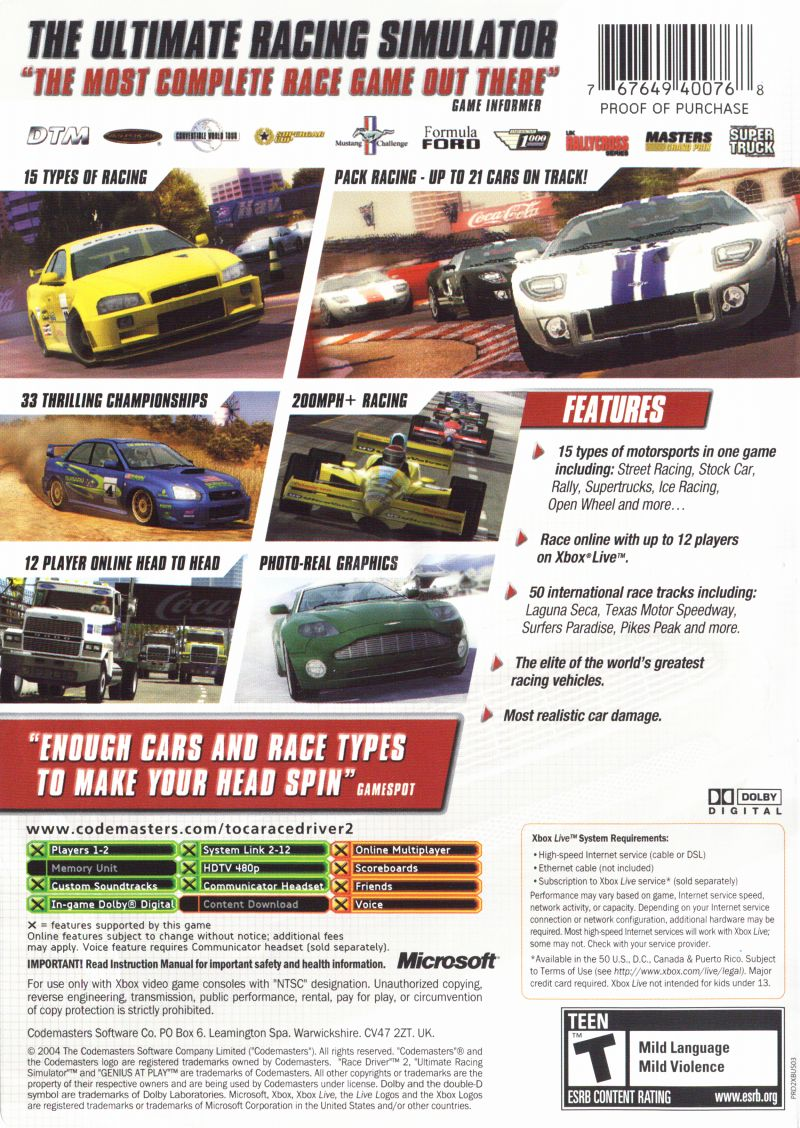 TOCA Race Driver 2 Xbox Back Cover