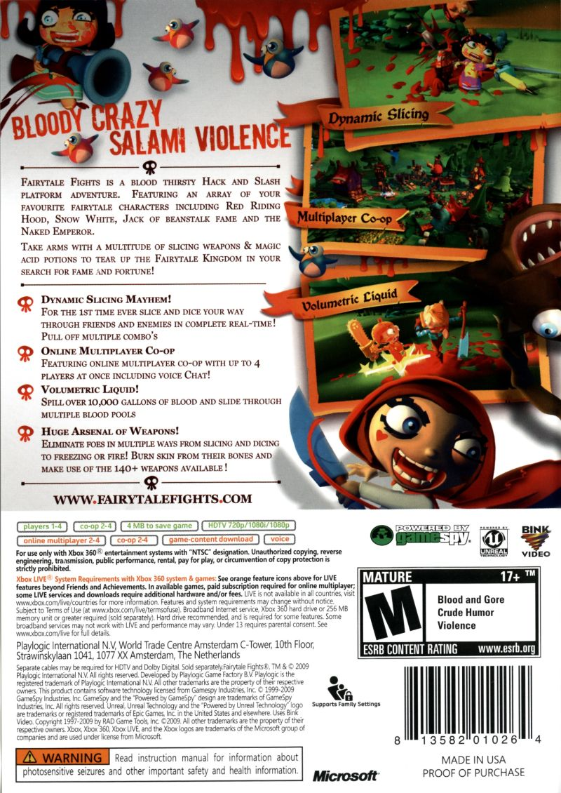 Fairytale Fights Xbox 360 Back Cover