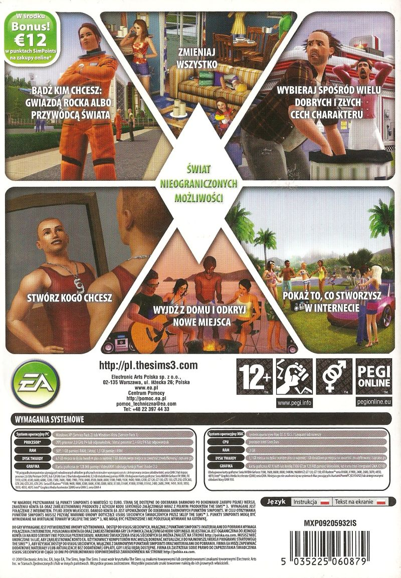 The Sims 3 Macintosh Back Cover