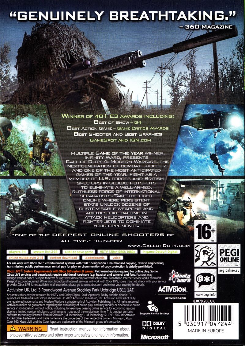 Call of Duty 4: Modern Warfare (Limited Collector's Edition) Xbox 360 Other Keep Case - Back