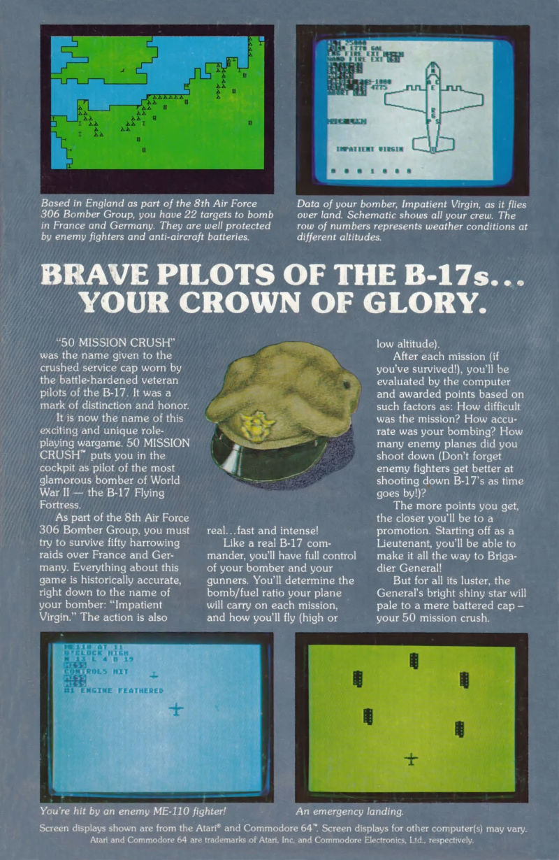 50 Mission Crush Atari 8-bit Back Cover