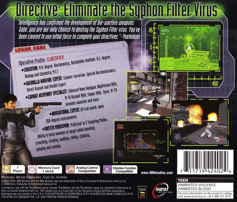 Syphon Filter PlayStation Back Cover