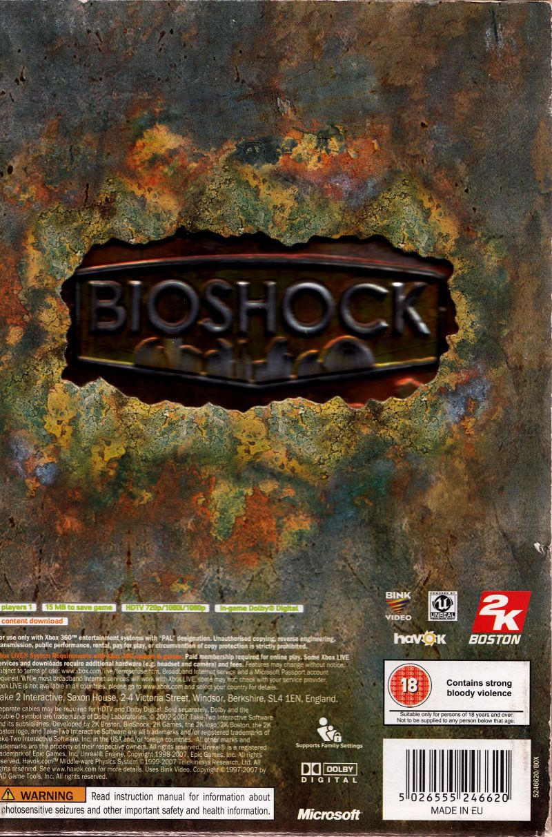 BioShock (Limited Edition) Xbox 360 Back Cover