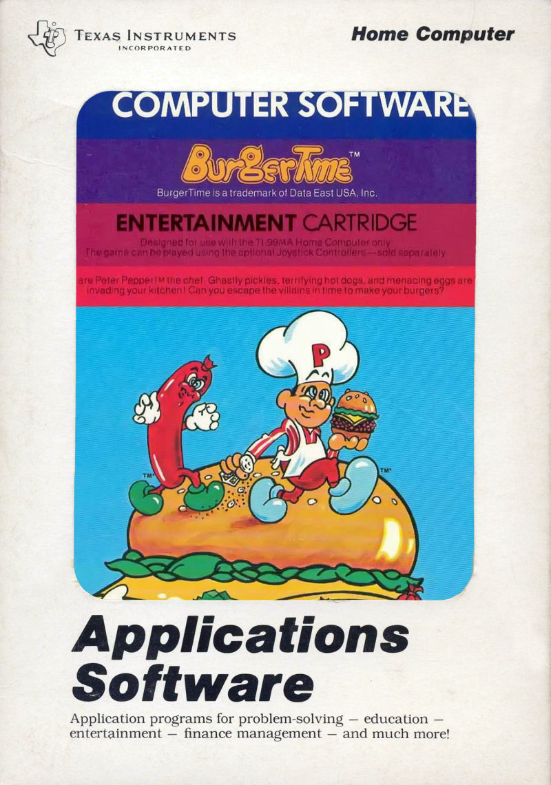 BurgerTime TI-99/4A Front Cover