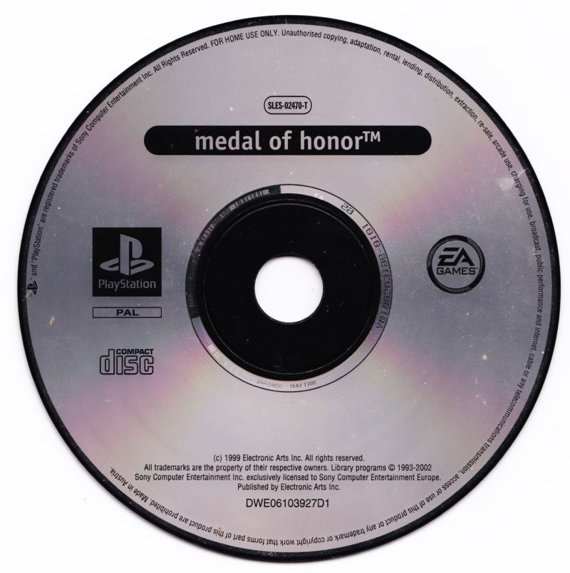 Medal of Honor / Medal of Honor: Underground PlayStation Media Medal of Honor disc