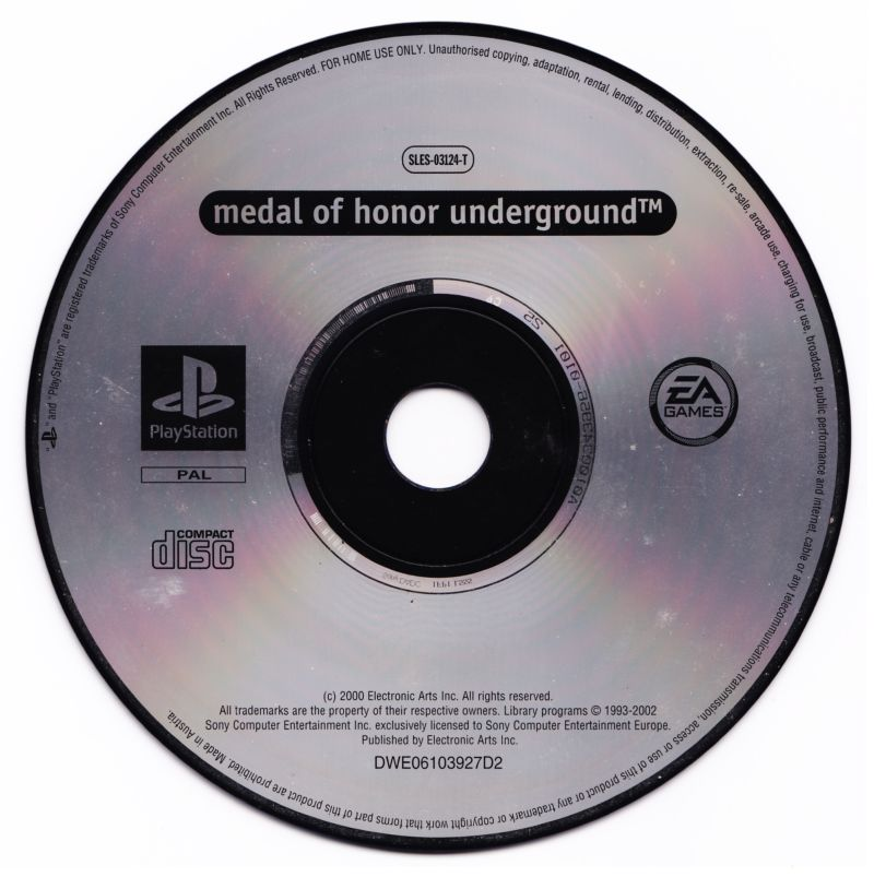 Medal of Honor / Medal of Honor: Underground PlayStation Media Medal of Honor: Underground disc