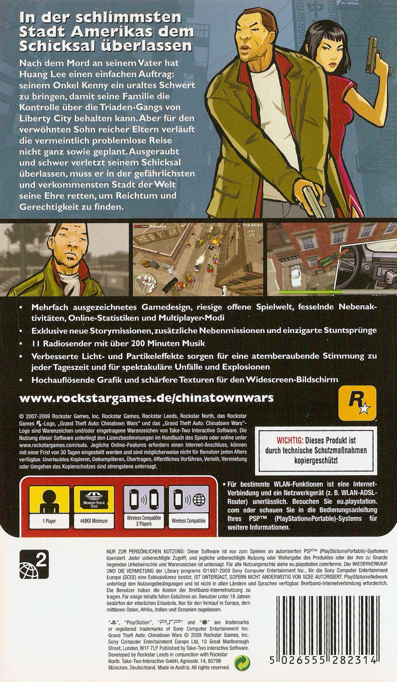 Grand Theft Auto: Chinatown Wars PSP Back Cover