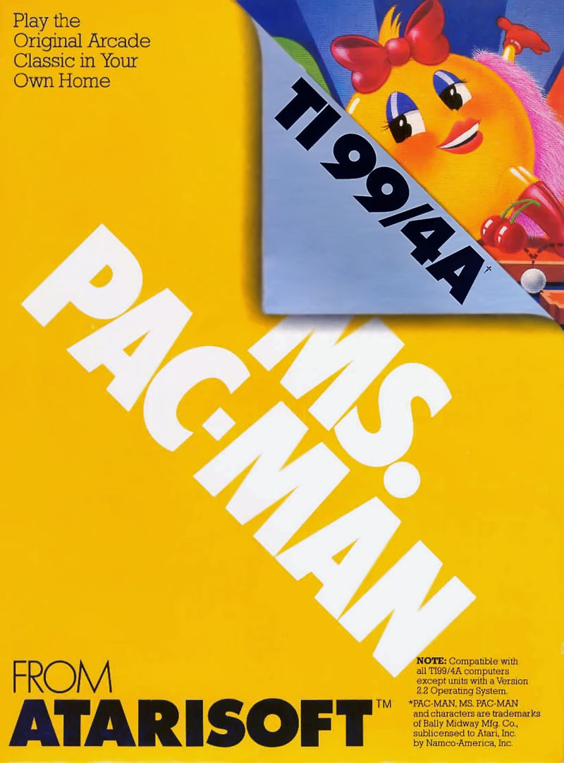 Ms. Pac-Man TI-99/4A Front Cover