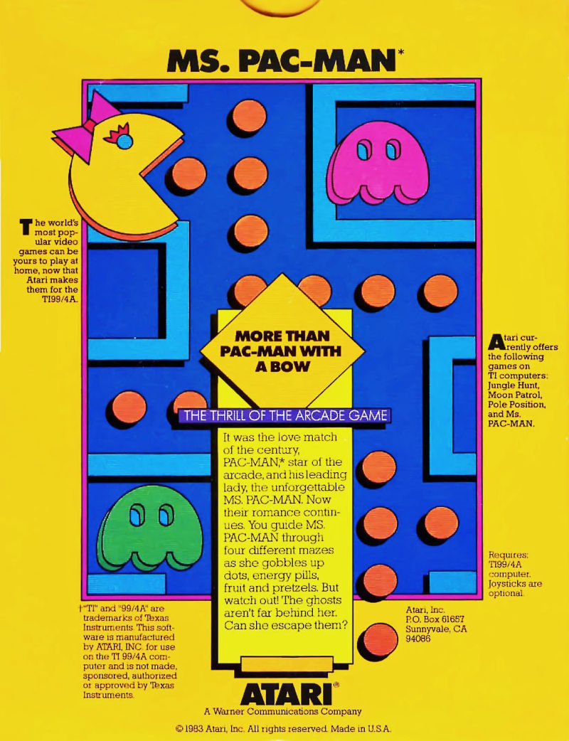 Ms. Pac-Man TI-99/4A Back Cover
