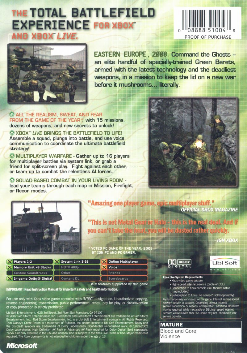 Tom Clancy's Ghost Recon Xbox Back Cover