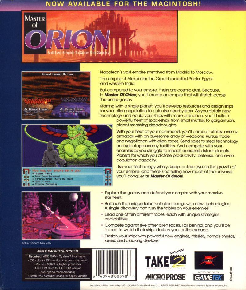 Master of Orion Macintosh Back Cover