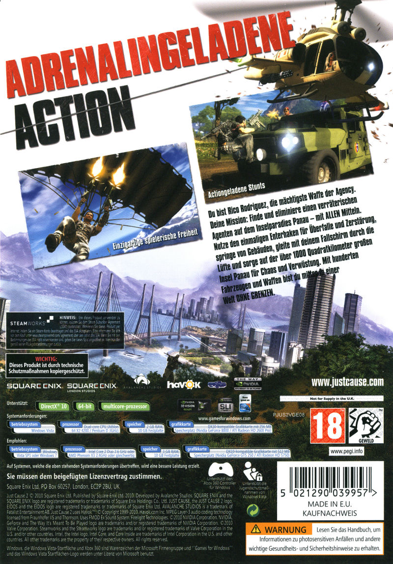 Just Cause 2 (Limited Edition) Windows Other Keep Case - Back