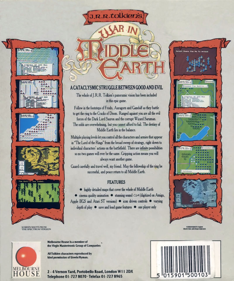 J.R.R. Tolkien's War in Middle Earth Commodore 64 Back Cover