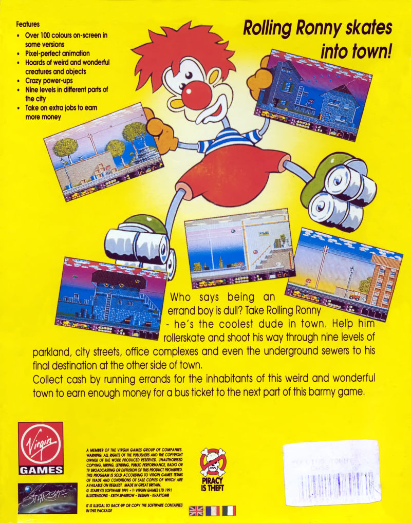 Rolling Ronny Commodore 64 Back Cover