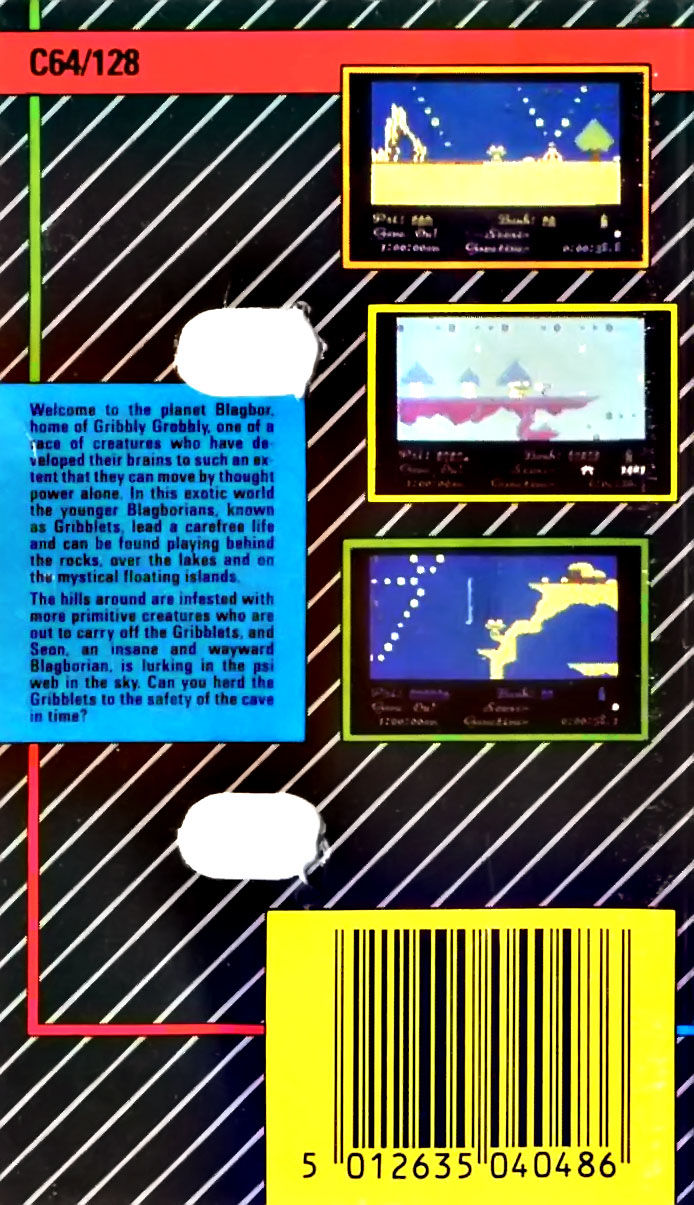 Gribbly's Day Out Commodore 64 Back Cover