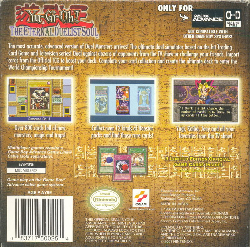 Yu-Gi-Oh! The Eternal Duelist Soul Game Boy Advance Back Cover