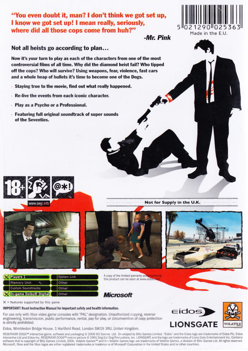 Reservoir Dogs Xbox Back Cover