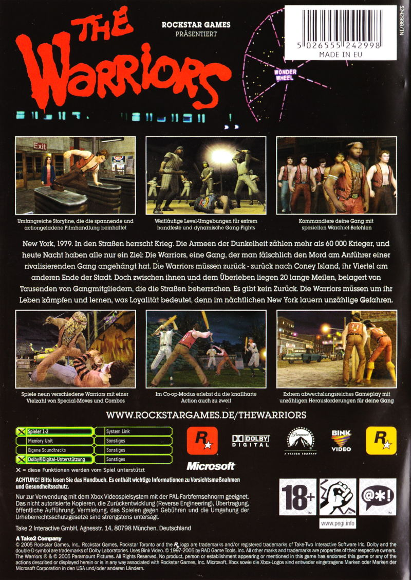 The Warriors Xbox Back Cover