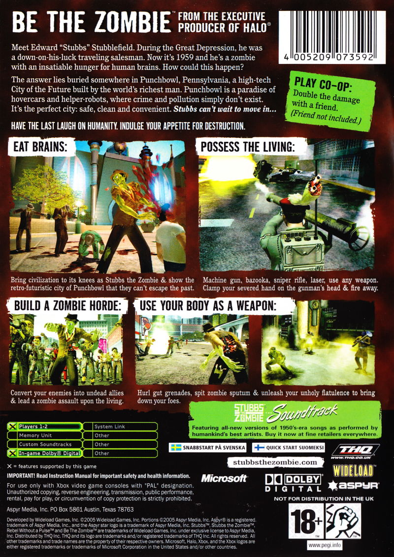 Stubbs the Zombie in Rebel Without a Pulse Xbox Back Cover