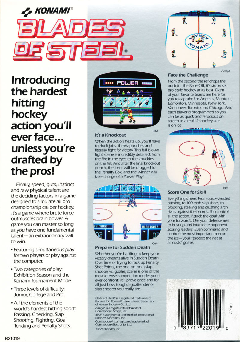 Blades of Steel DOS Back Cover